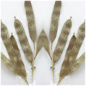 "27"" Light Gold Glitter 3 Leaf Stem 4PC. NWT"